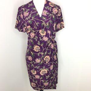 Adrianna Papell Safe Silk Floral Wrap Dress Sz 10